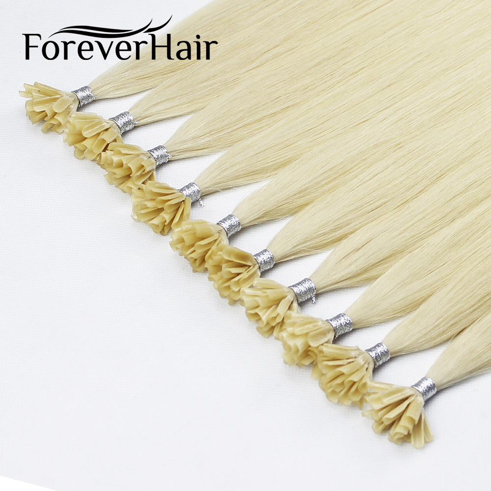 Forever Hair Professional DIY 0.5g/s 0.8g/s 1g/s 1.5g/s 2g/s 12-30 Inch Real Remy Keratin U Tip Human Hair With Capsule