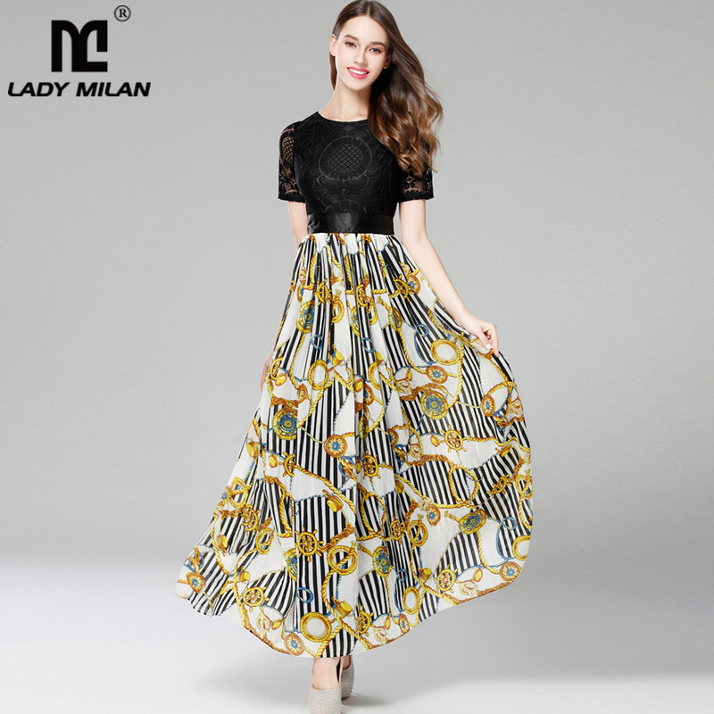 New Arrival 2018 Womens O Neck Short Sleeves Embroidery Lace Bodice Printed Patchwork Elegant Prom Fashion Long Dresses