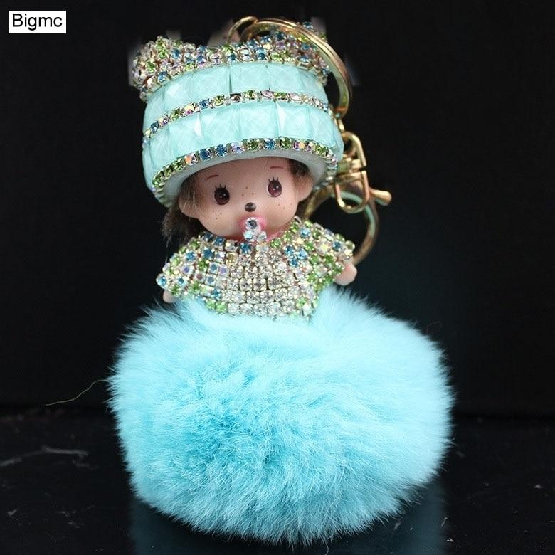 Monchichi Брелок меховой помпон брелок Полный Кристалл Monchichi куклы помпон брелок женщины сумка автомобилей Шарм Подвеска K1602