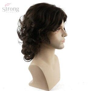 Image 2 - Strongbeauty peruca de cabelo encaracolado, peruca castanho natural sintético