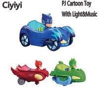 PJ Cartoon Mask Led Light Sound Car Toy Les Pyjamasques Connor Greg Amaya PVC Action Figure