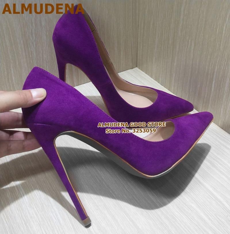 ALMUDENA Dress Pumps Stiletto-Heels Banquet-Shoes Shallow Suede Pointed-Toe Purple 12cm