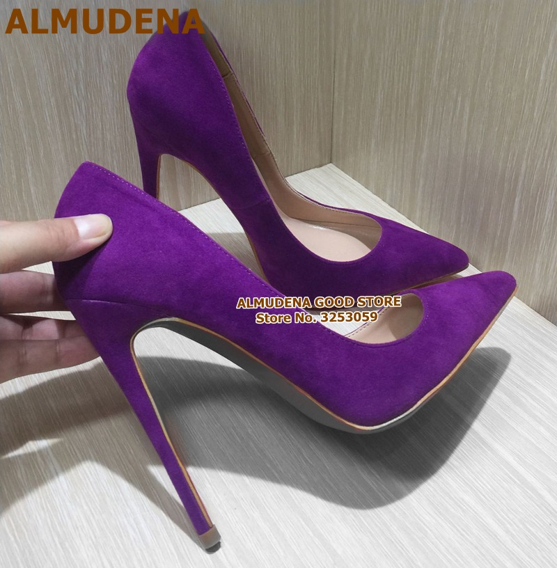 ALMUDENA Suede Pointed Toe Stiletto Heels Dress Pumps Shallow Slip-on 12cm Ultra High Heel Banquet Shoes Purple Yellow Blue