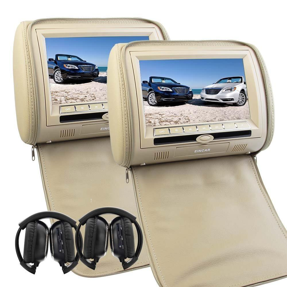 Pair of 9 Car Headrest DVD Player with TFT LCD Digital Screen Auto Monitor support USB IR FM Transmitter Speaker+2 IR Headphone pair of 9 car headrest cd dvd player with tft lcd digital screen auto monitor support usb ir fm transmitter two 2 ir headphone