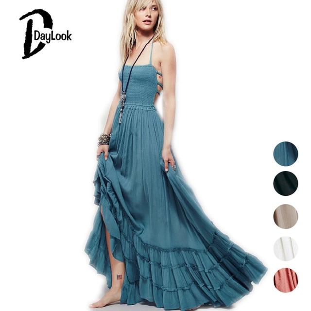Daylook 2017 Summer Strapless Maxi Dress Bohemian Cut Out Backless Women Beach Long Elastic