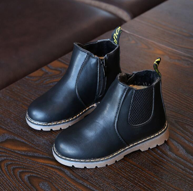 New Autumn Children Shoes Pu Leather Waterproof Martin Boots Warm Kids Snow Boots Girls Boys Rubber Boots Fashion Sneakers #4