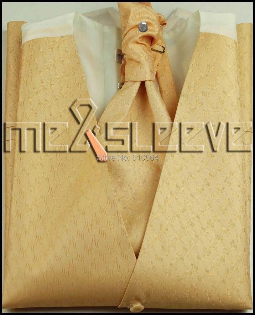 Wholesale Free shipping Single Breast Men Vest Waistcoat gold pattern Vest(vest+bowtie+Handkerchief+cufflinks)