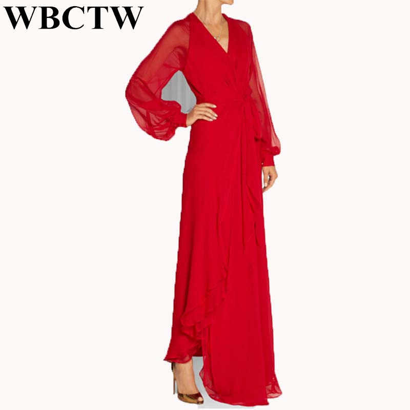 be04cbcb6de91 WBCTW Woman Dress Sexy Deep V-Neck Solid Open Slide Maxi 6XL 7XL Plus Size
