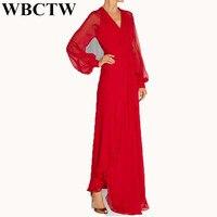 WBCTW Woman Dress Sexy Deep V Neck Solid Open Slide Maxi 6XL 7XL Plus Size Chiffon Dress Elegant Beach Long Summer Dresses Red