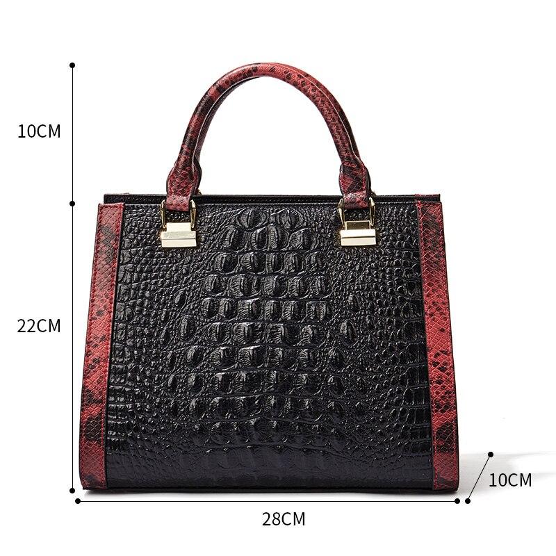 Qiwang Black Leather Handbag 2019 Crocodile Pattern leather Handbag Luxury Brand Designer Shoulder Bags for Richer Classic Bag