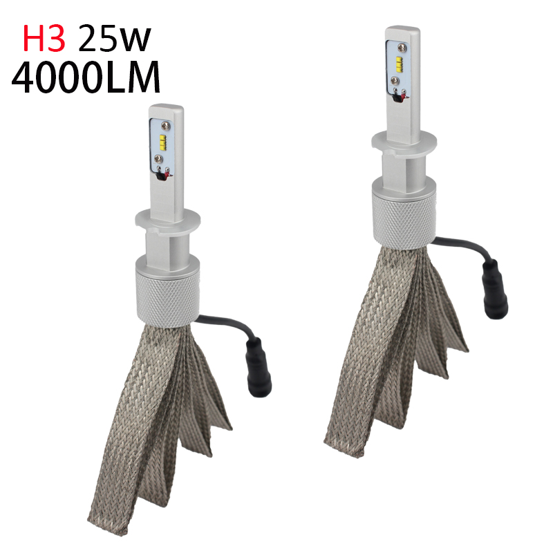 H3 Led Fog Bulbs 50w 8000Lm Fanless Auto Headlamp Conversion Kit to Replace Original Haolgen with ZES Chip 2016 New цена 2017