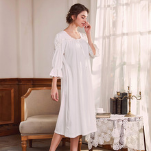 2019 Arabic Women Sleepwear 100% Cotton ladies Nightgowns Retro Palace Princess Nightdress Horn Sleeve Dress