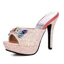 DoraTasia 2017 Big Small Size 33-43 Bling Glitter PU Super High Heel Shoes Women Open Peep Toe Colorful Crystal Slides Sandals