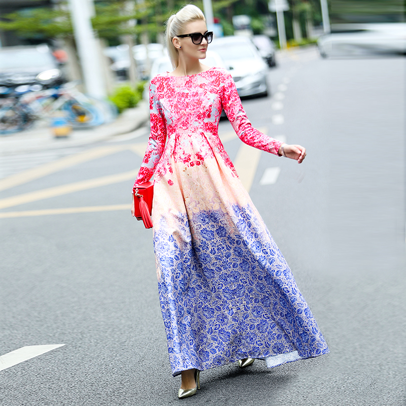 9389ee2ee3e4 2018 Spring Summer Runway Maxi Long Dress Women Sweet Gradient Floral  Printing Celebrity Party Ball Gown Dress PLUS SIZE 4XL-in Dresses from  Women's ...