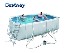 "#56456 Bestway 412*201*122cm for Asia,Africa & Latin America,Power Steel Rectangular Frame Pool Set(Filter+Ladder 162""x79""x48"""