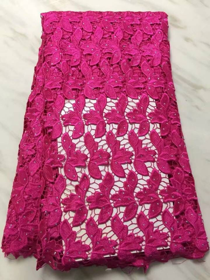 5 Yards/pc Gorgeous fuchsia leaves african water soluble guipure lace embroidery for french cord lace fabric for dress BW157-185 Yards/pc Gorgeous fuchsia leaves african water soluble guipure lace embroidery for french cord lace fabric for dress BW157-18