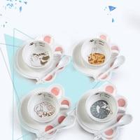 Lovely Cartoon Cat 150ml Coffee Mug Set Breakfast Ceramic Mug With Cat Claw Shape Tray and A Spoon