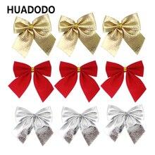 HUADODO 12 шт. красные золотые серебряные рождественские банты Рождественская елка украшение для рождественской елки подарки Рождественские украшения для вечеринок своими руками