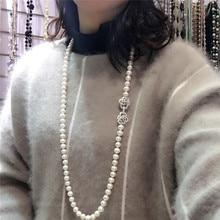 Sıcak satış 8 9mm 80 cm beyaz doğal tatlı su incisi kolye uzun kazak zinciri moda takı