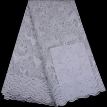 Best Quality African Pearls Lace Fabric White Swiss Voile Lace High Quality Embroidery French Mesh 2018 Nigeria Lace Fabric 901