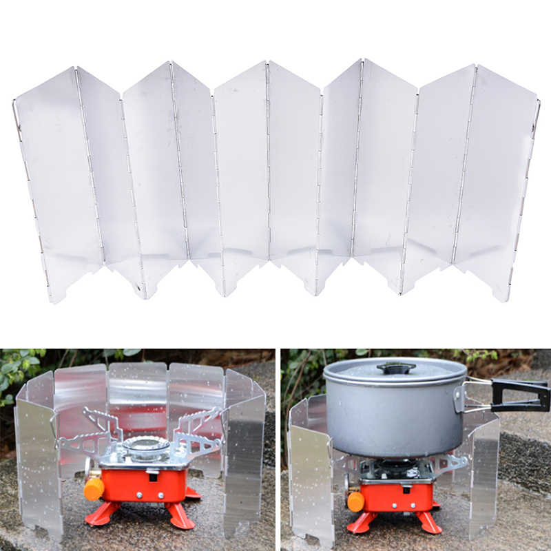 Camping Cooker Gas Stove Wind Shield Folding Wind Guard Picnic Plate 10pcs