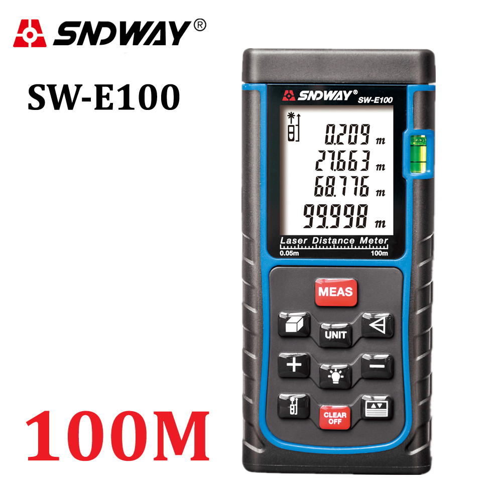 SNDWAY Digital Medidor de distância a laser Fita métrica trena a laser ferramenta testador 100M-80M-70M-60M-50M-40M Diastimeter Laser Rangefinder