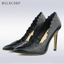 plus size 34-42 Women Pumps Sexy Laser Cut Outs Thin High Heels Breathable Sandals Fashion Pointed Toe slip on Dress Party Shoes недорого