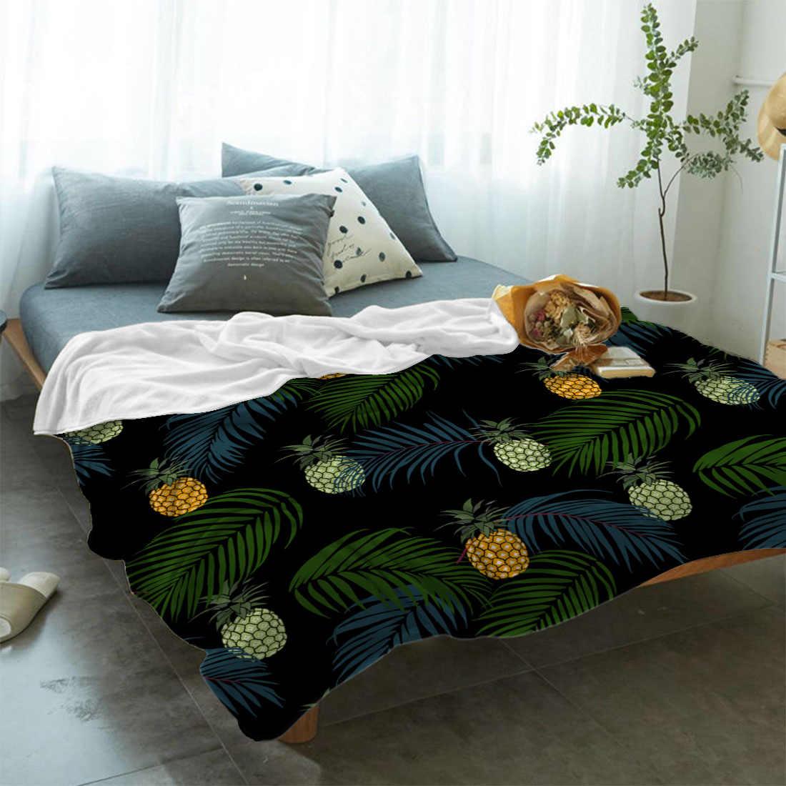 BIGHOUSES rzut koc owoce ananas tropikalnych roślin liści palmowych czarny rzut koc miękki ciepły koc z mikrofibry