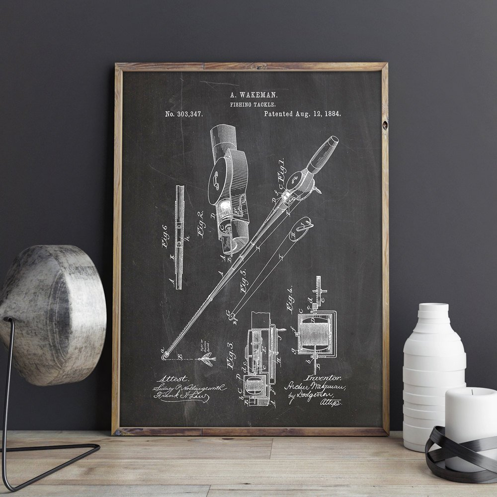 Fishing Reel and Rod patent Wall art