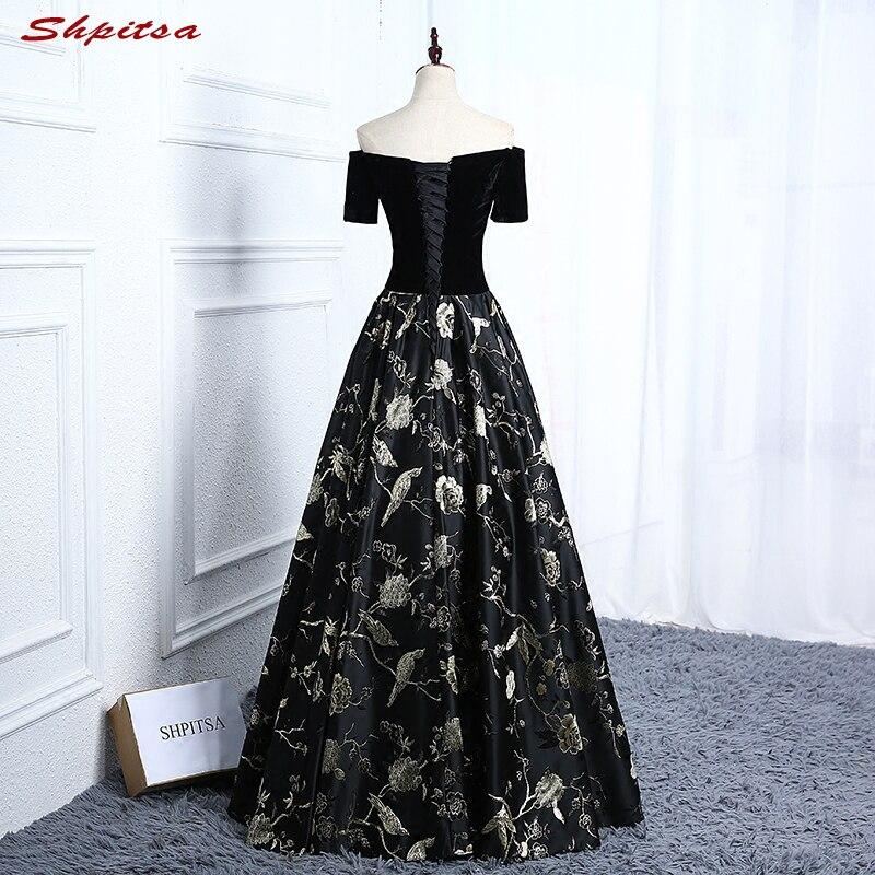 Noir élégant velours longues robes de soirée 2018 parti grande taille femmes robe de bal robes de soirée formelles robes en vente - 2