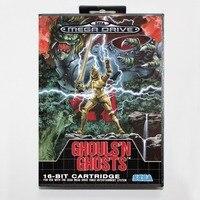 Perakende kutu ile 16 bit Sega MD oyunu Kartuş-Ghouls 'N Hayaletler Genesis Megadrive sistemi için oyun kartı