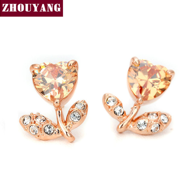 ZHOUYANG Top Quality Flower Earrings  Rose Gold Plated Fashion Jewelry Made with Austrian Crystal  Wholesale ZYE120