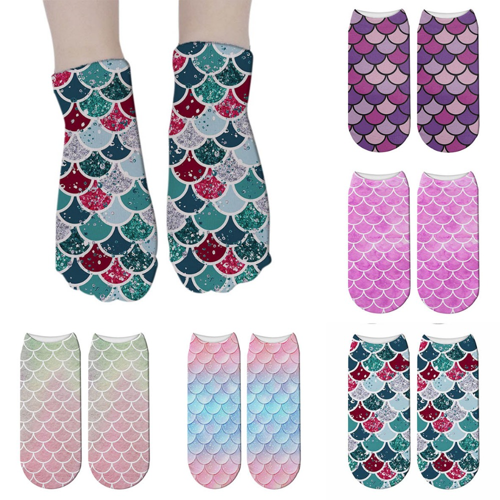 New Mermaid 3D Printed Short Socks Funny Summer Beach Fish Scale Socks For Women Cosplay Ankle Socks Calcetines Mujer 5ZJQ-ZWS41
