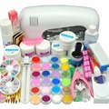 2017 New 9W UV white dryer lamp 18 color Acrylic Powder rhinestones UV GEL Nail Art Kit gel tools Set