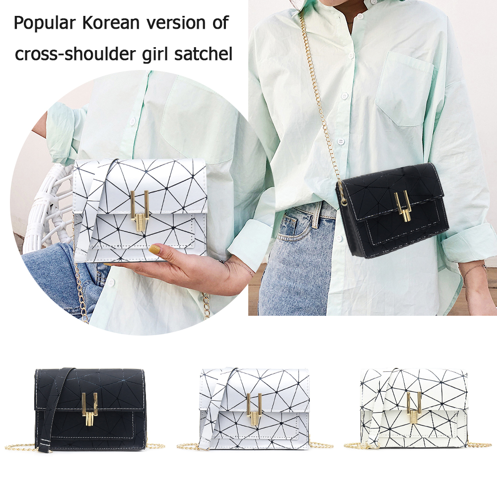 Geometric Print Shoulder Bags for Women 2019 Fashion New PU Leather Messenger Satchel Bag Girls Bolsas Feminina Mujer Sac A Main in Top Handle Bags from Luggage Bags