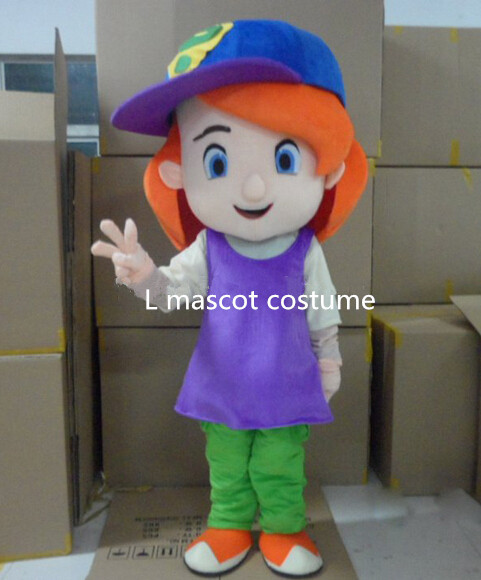 Free shipping, wholesale baseball girl mascot red hair plush cartoon costume