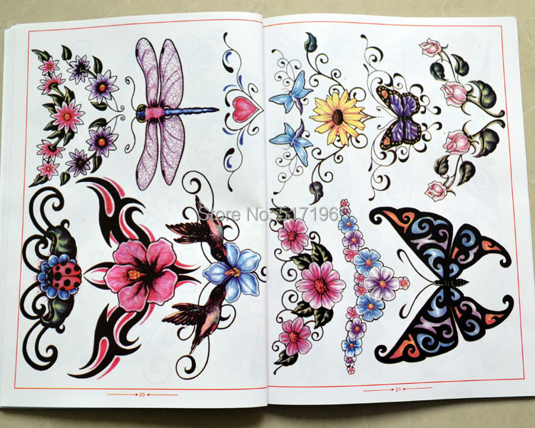 2015 New Chinese Traditional Tattoo Books Butterfly Star Leaf Rose