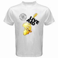Neue LIVE AID 1985 Logo Rock Konzert männer Weiß T-Shirt Größe S-3XL