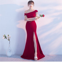 Party Long Bodycon Dresses Fish Tail Forking Elegance Wedding Off Shoulder Solid Dress 2018 Top Fashion