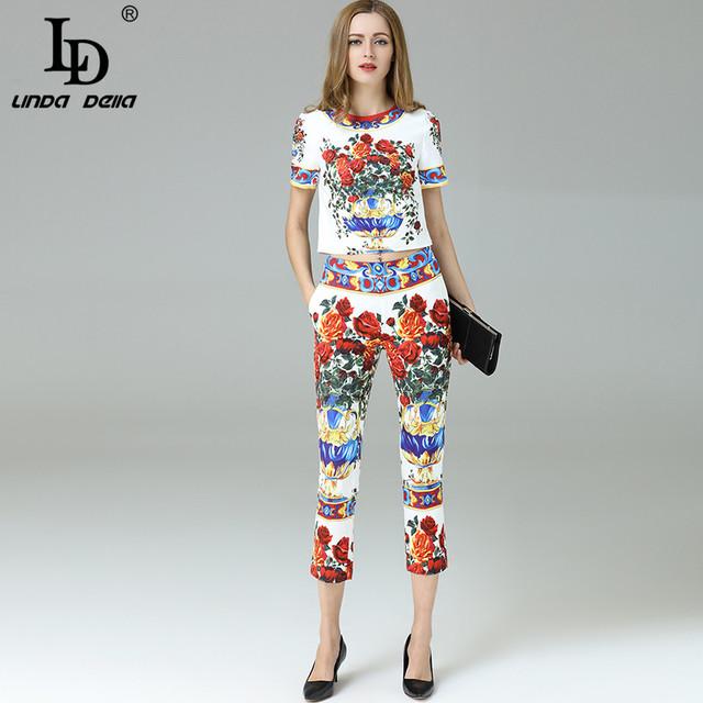 Alta Qualidade Novo 2017 Moda Runway Suit Conjunto das Mulheres Define Floral Impresso Top + calças de Comprimento No Tornozelo Calça Casual