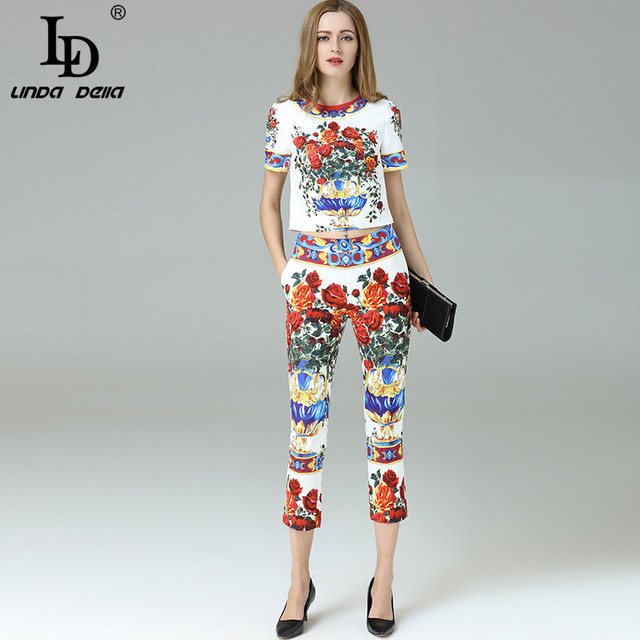 High Quality New 2017 Fashion Runway Suit Set Women's Sets Floral Printed Top + Ankle Length Casual Pants