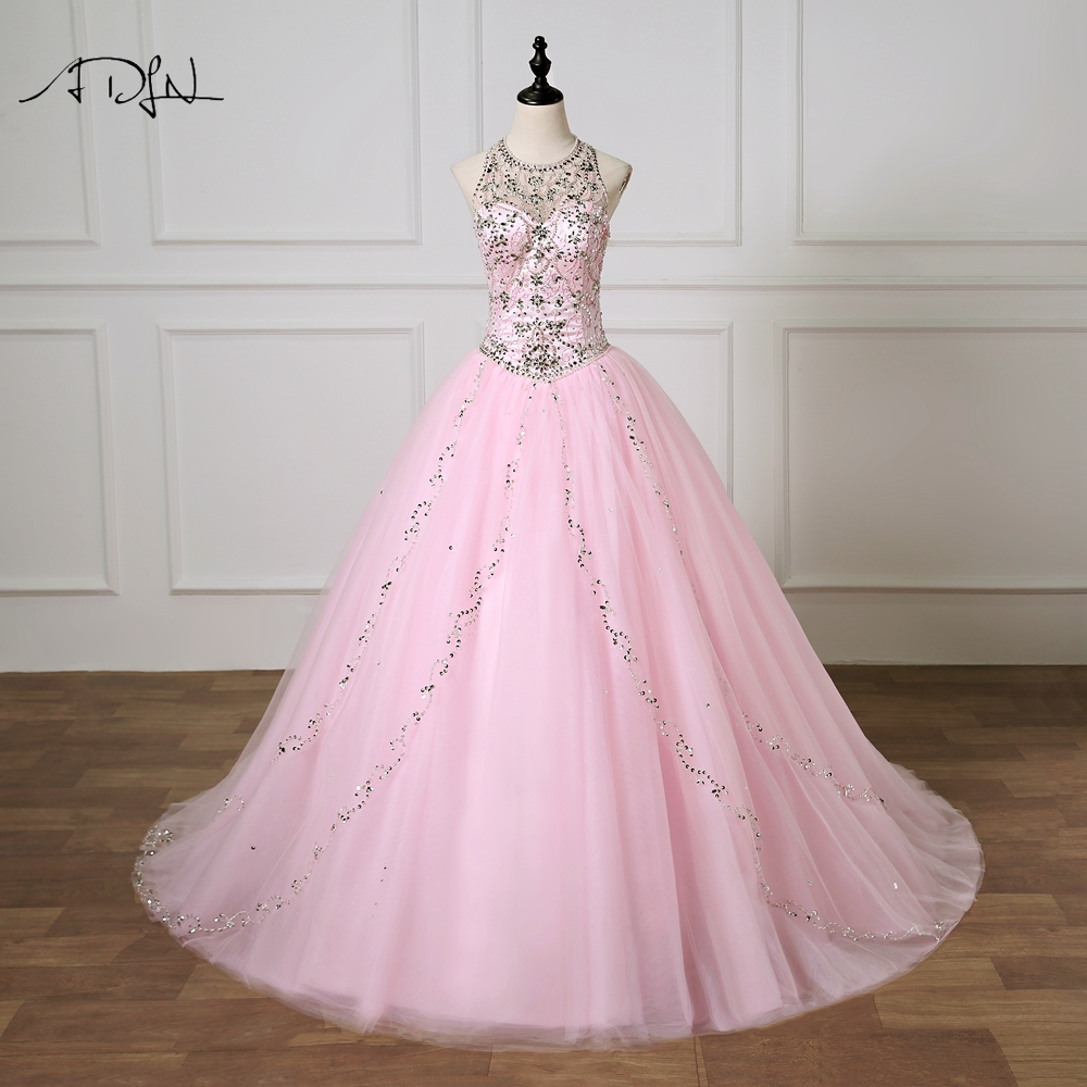 ADLN Cute Pink Quinceanera Dresses Vestido 15 Anos Luxury Crystals Ball Gown Masquerade Gown Formal Prom Dress 2019 Robe de Bal