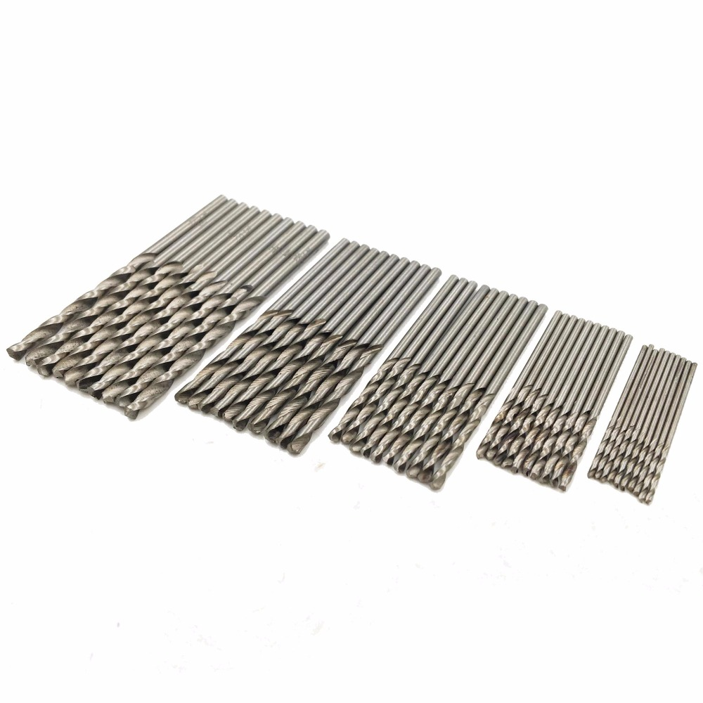 GOXAWEE Twist Drill Bit Set HSS High Stainless Steel Drill Woodworking Wood Tool 0.5/0.8/1.0/1.2/1.5mm For Metal PCB Woodworking 50pcs set twist drill bit set saw set 1 1 5 2 2 5 3mm hss high steel titanium coated woodworking wood tool drilling for metal