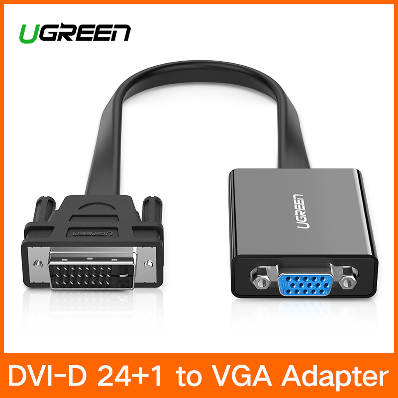 Ugreen Active DVI to VGA Adapter 1080P DVI D 24+1 to VGA Male to Female Adapter Converter Cable For Laptop PC Host Graphics Card цена 2017
