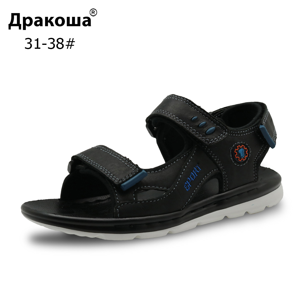 Apakowa Brand 2018 New Big Kids Shoes Genuine Leather Boys Beach Sandals with Arch Support Flat ...
