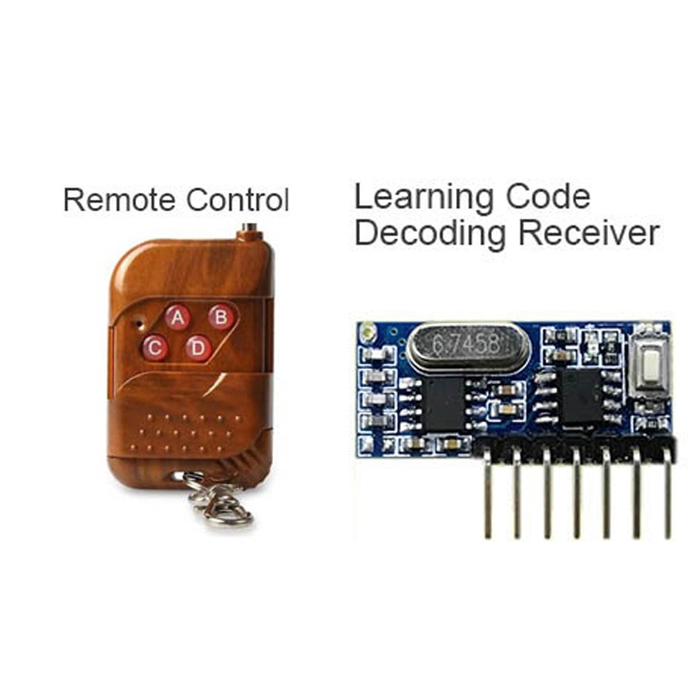 QIACHIP 433 Mhz Remote Control and 433Mhz Wireless Receiver Learning Code EV1527 Decoding Module 4Ch output With Learning Button chunghop rm l7 multifunctional learning remote control silver