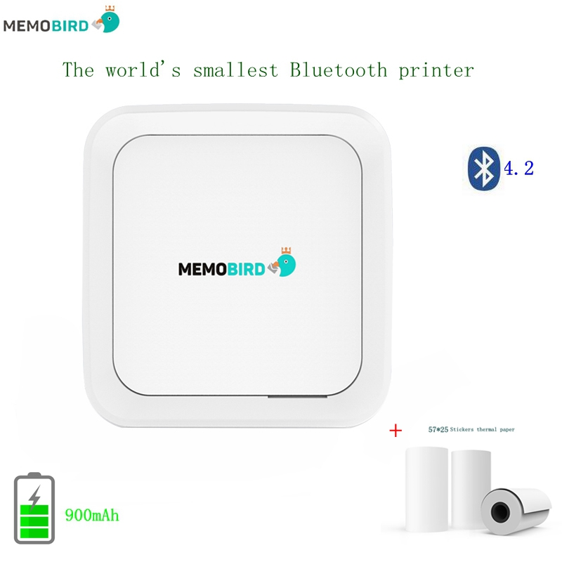 Portable Stickers Printer  MEMOBIRD G3 New Bluetooth 4.2 Wireless Mini phone Photo  USB Pocket Printer + 3 Rolls Stickers mymei best price new portable 3 5mm pillow speaker for mp3 mp4 cd ipod phone white