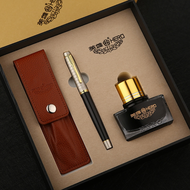 High-end Business Gift Set Hero Fountain Pen with Bottle Ink Leather Pen Pouch Gold Clip Black 0.5mm Office Pens Free Shipping hero fountain pen premium gift soar pen gift free shipping