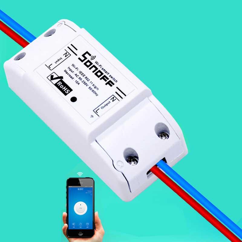 imágenes para 2 unids/lote Sonoff Casa Inteligente Módulo de Interruptor de Control Remoto Inalámbrico Universal Temporizador Wifi Interruptor de Control Inteligente del Hogar A Través de IOS Android