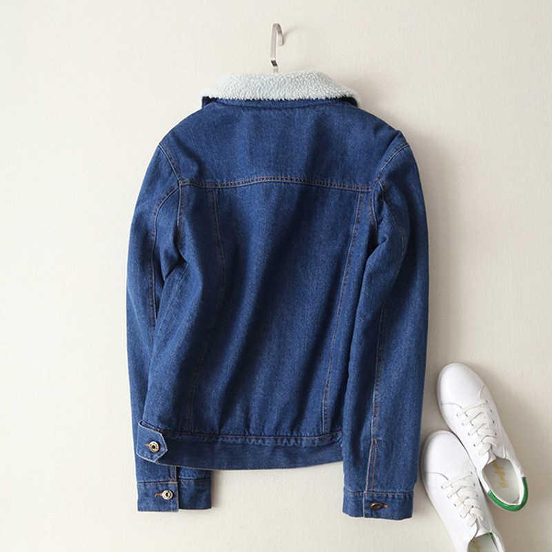 Весна Осень Зима Новинка 2019 женское джинсовое пальто из овечьей шерсти с 4 карманами с длинным рукавом теплое джинсовое пальто Верхняя одежда широкая джинсовая куртка